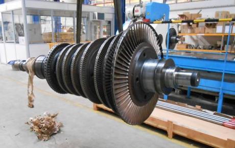 Remise en état par chromage et projection HVOF carbure de tungsténe des portées de paliers, de soies et d'accouplement d'une turbine industrielle